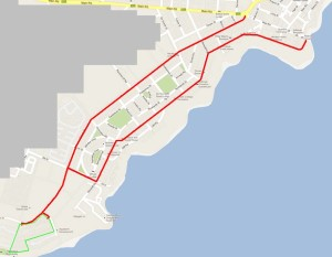 Map of Hermanus showing routes to WBC